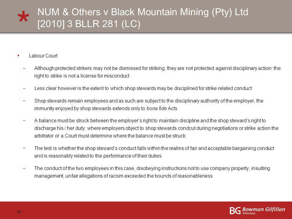 NUM & Others v Black Mountain Mining (Pty) Ltd [2010] 3 BLLR 281 (LC)